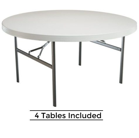 New 2970 4 Pack Lifetime 60 White Round Folding Tables Round Folding Table Folding Table Patio Furniture Feet