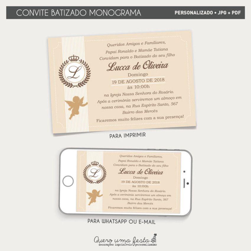 Convite Batizado Monograma Convite Batizado Para Imprimir
