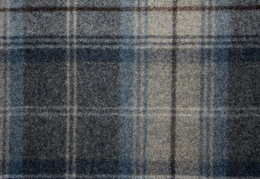 Woodford Plaid Wool Tartan Fabric In Blue Charcoal And