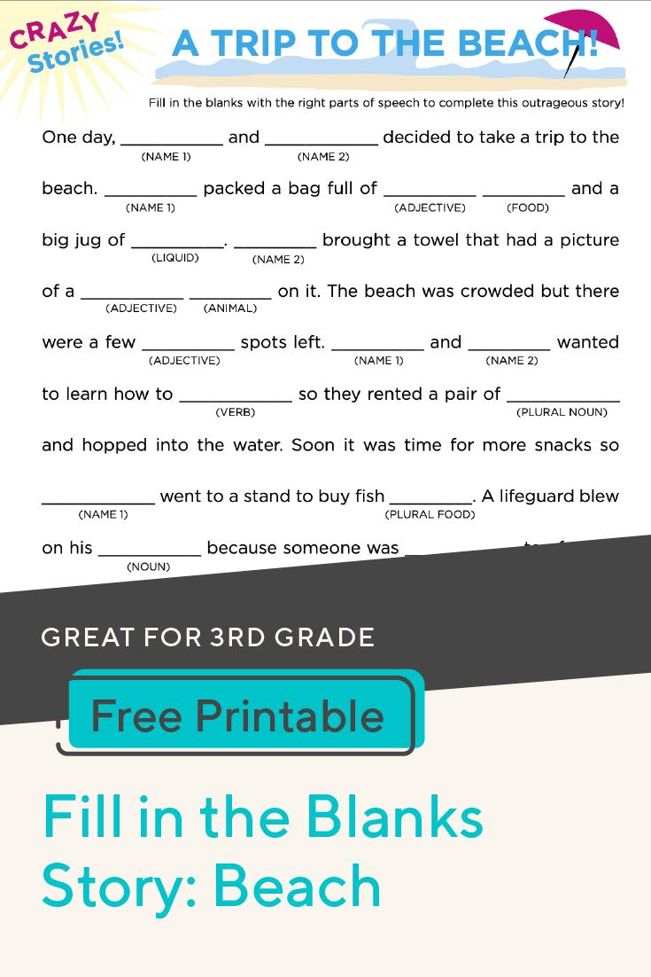 Fill In The Blanks Story Beach Worksheet Education Com Parts Of Speech Worksheets Parts Of Speech Homeschool Reading [ 1102 x 735 Pixel ]