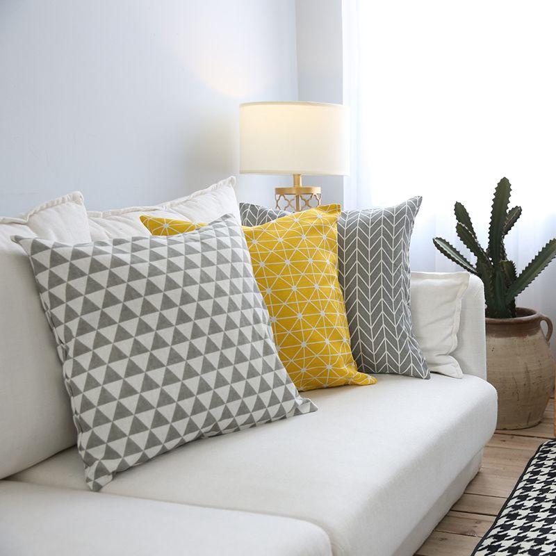 moderne canape housse de coussin jaune gris coton taie d oreiller de jet decoratif plaid geometrie imprime literie decoration de la maison 45x45 dans housse