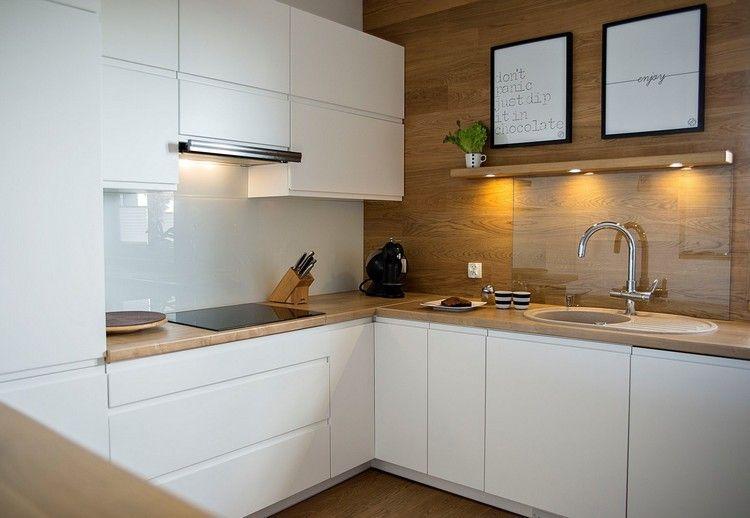 Arbeitsplatten für die Küche ideen holzoptik laminat wandverkleidung - Küchen Weiß Hochglanz