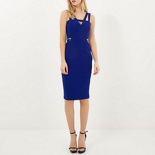 Blue V front multi strap bodycon dress
