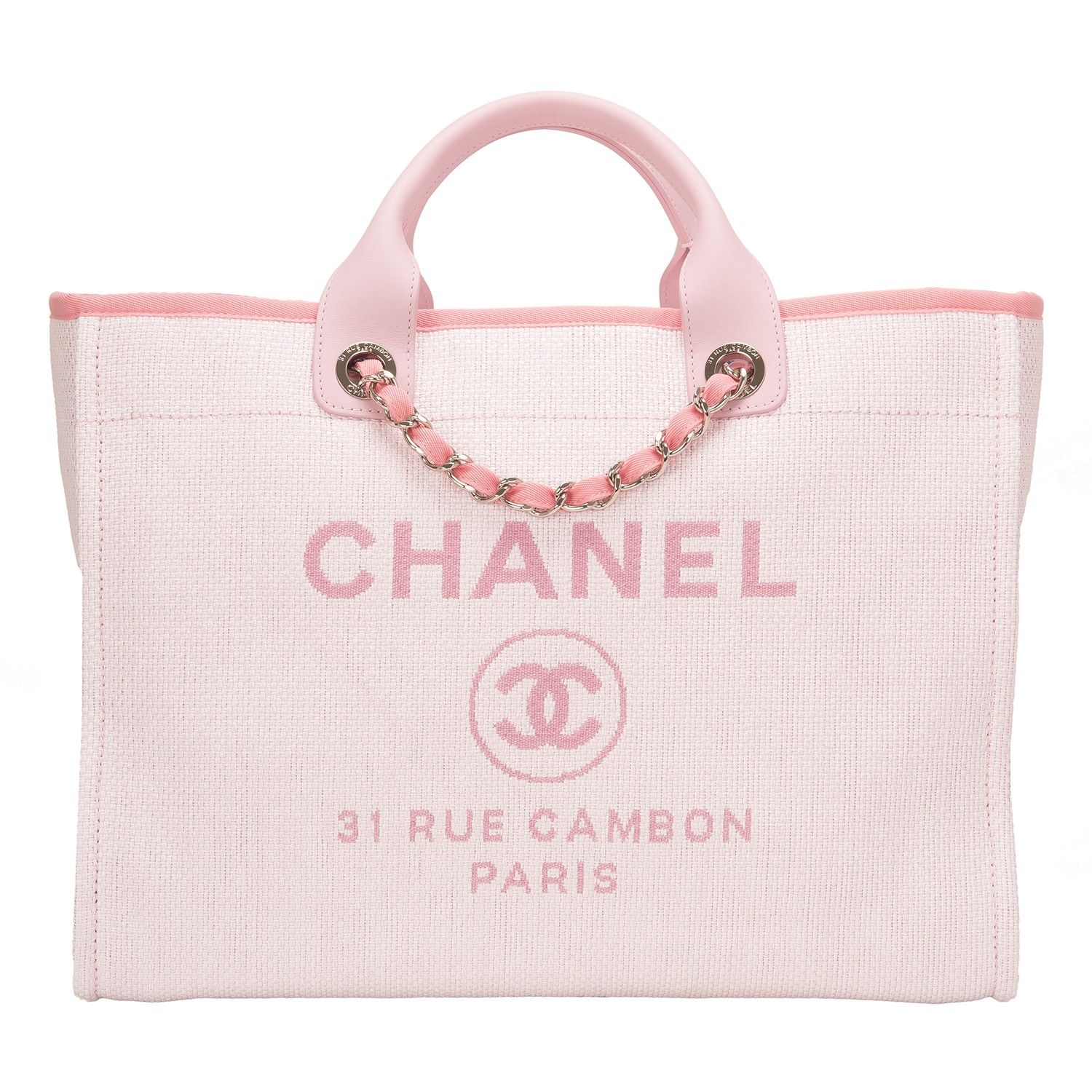 10f8abb622f0 Chanel Pink Deauville canvas tote