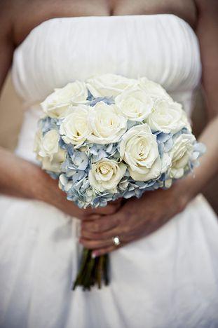Real Wedding Elisa Lance Blue Wedding Flowers Wedding Flowers Hydrangea Wedding Flowers