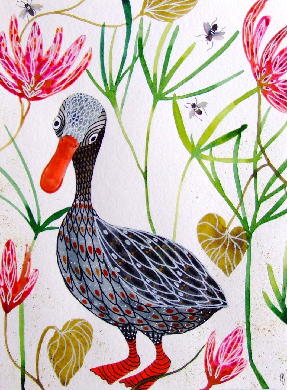 Canard peinture oiseau art contemporain animal peinture nature d cor fleurs oiseau peintures - Canard decoration accessoire ...