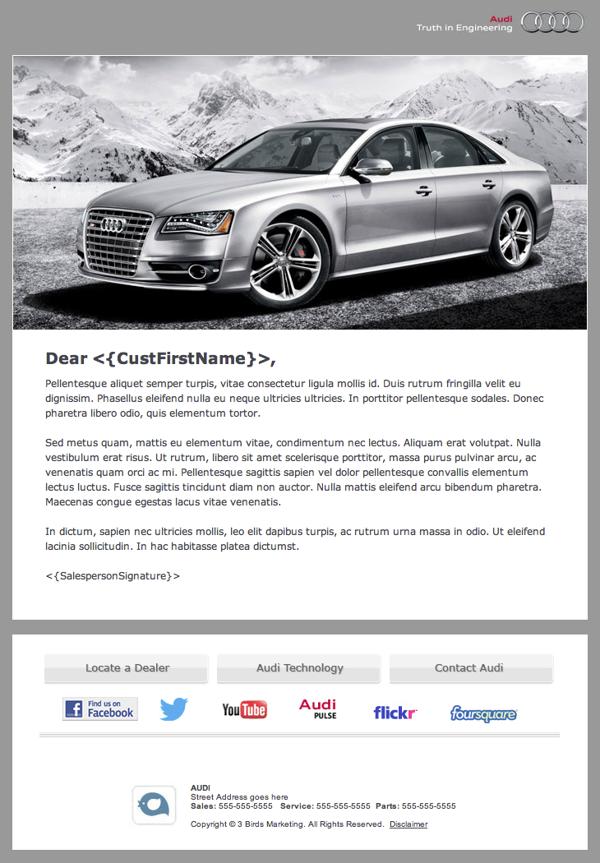 Audi Branded Automotive Dealership Email Newsletter On Adweek Talent Gallery Automotive Dealership Tata Motors