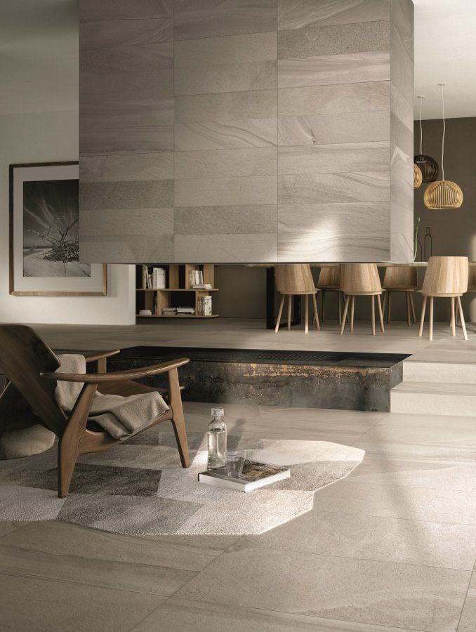 Porcelain Stoneware Wall Floor Tiles Re Work By Abk Industrie Ceramiche Fireplace Con Imagenes Diseno De Interiores