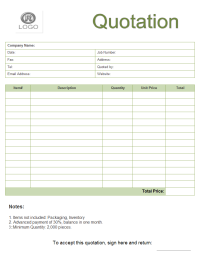 Quote Form Template  Quatation    Template