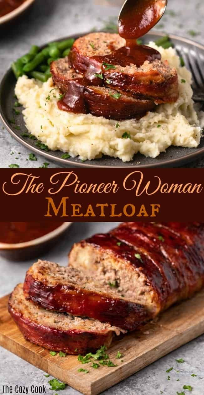This Pioneer Woman Meatloaf Recipe is the best you'll ever try! The entire loaf is wrapped in bacon and baked to perfection, and it freezes well for future meals! | The Cozy Cook | #Meatloaf #ThePioneerWoman #Dinner #Mealprep #Beef #groundbeefrecipesfordinner