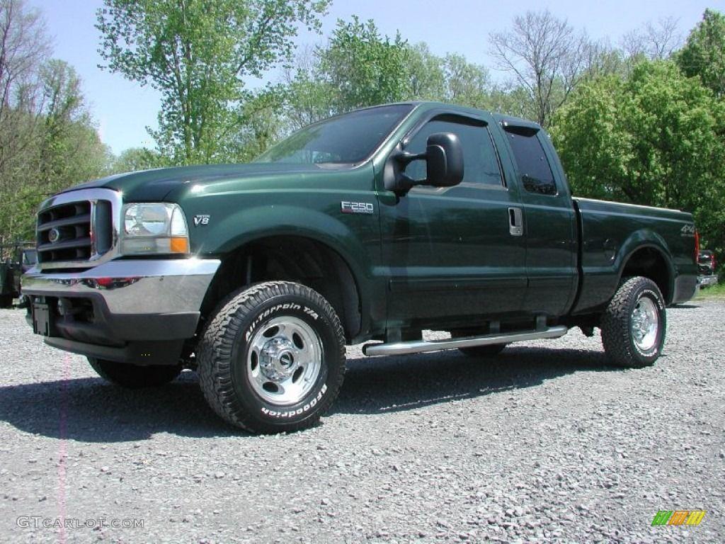 medium resolution of dark highland green metallic 2002 ford f250 super duty lariat supercab 4x4 exterior photo 65375754