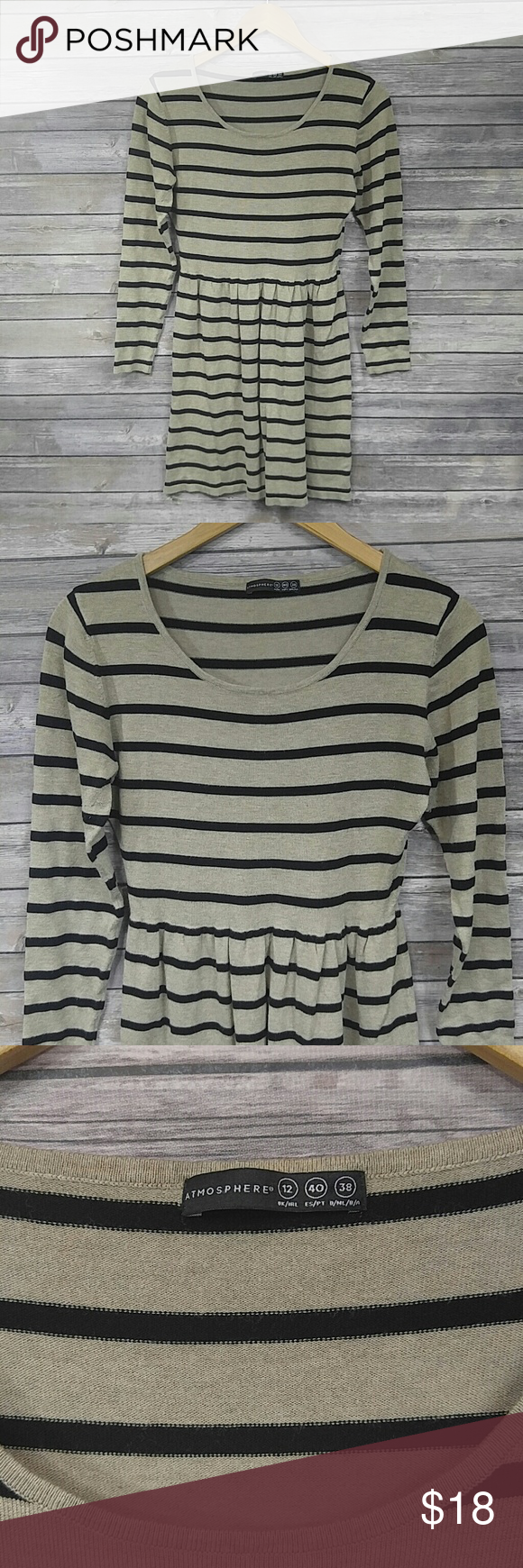Atmosphere long sleeve tan dress w. black stripes Soft sweater like material Atmosphere Dresses Long Sleeve