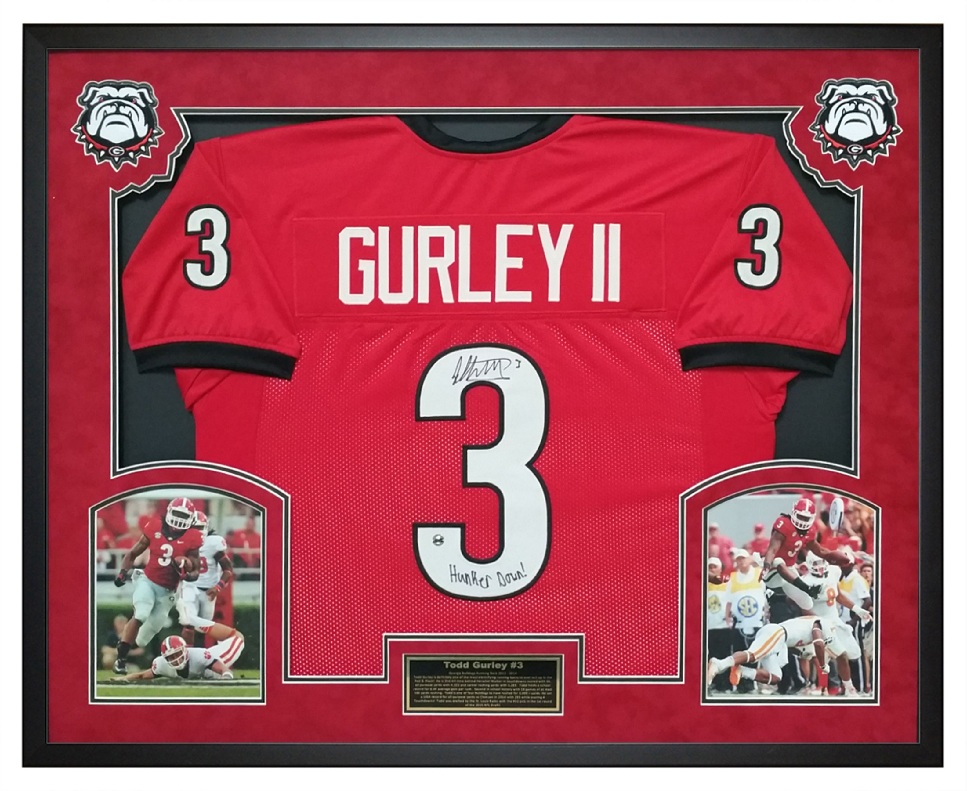 Todd Gurley Georgia Bulldogs Autographed Jersey That Has Been Custom Framed In A Shadow Box Would Look Amazing In Any Dawgs House O Framed Jersey Todd Gurley