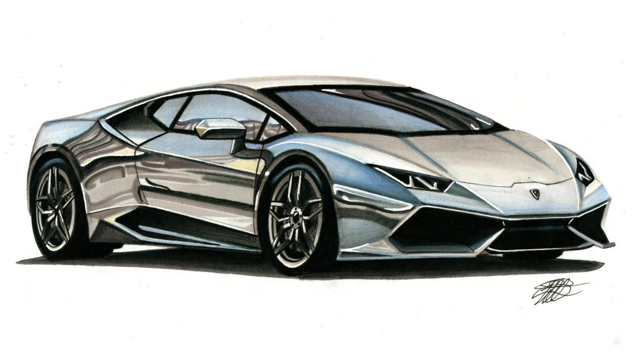 Realistic Car Drawing Lamborghini Huracan Time Lapse