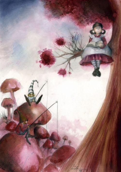 In the fall… we read in the forest / En el otoño… leemos en el bosque (ilustración de Leticia Zamora Méndez)