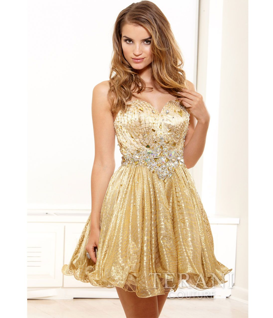 Light Gold Crystal Strapless Short Prom Dress | Prom Dresses ...