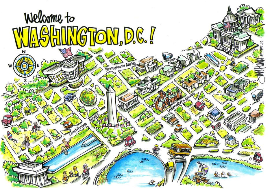 the map we used to find our way around washington d c cartoon map map cartoon washington d c cartoon map