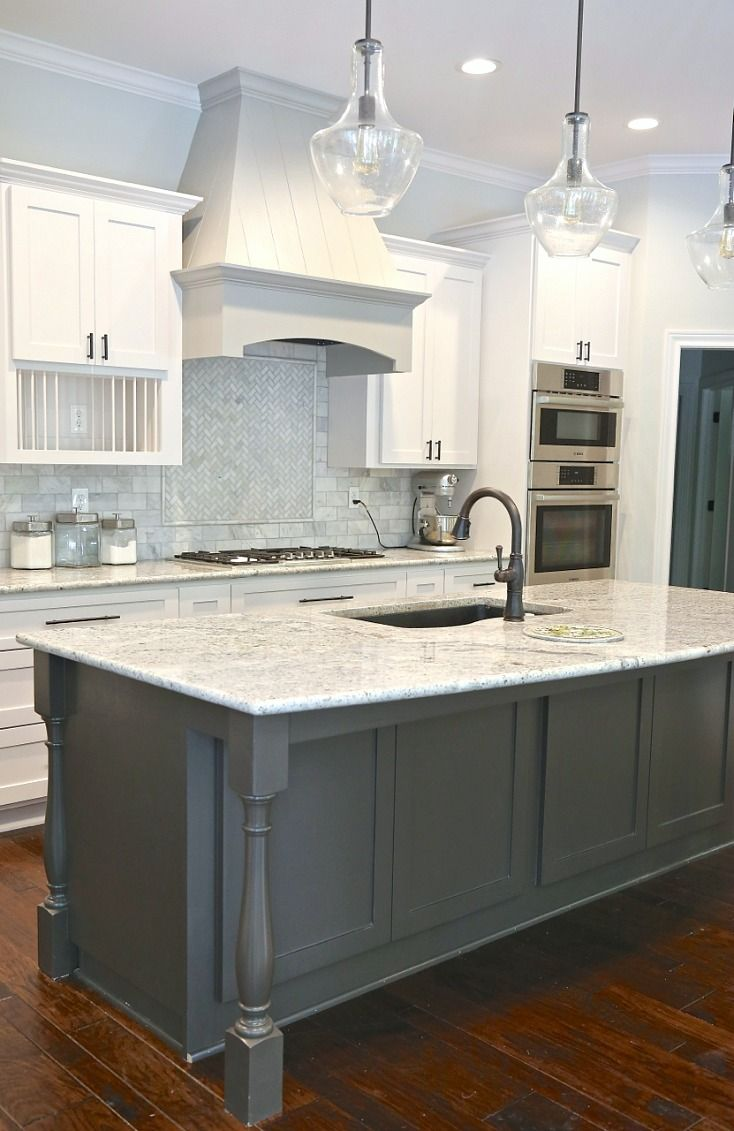 Cabinet Paint Color Is Benjamin Moore Simply White Hood Is Dorian Gray And Island Is Bla Popular Kitchen Colors Kitchen Cabinet Design Kitchen Cabinet Colors