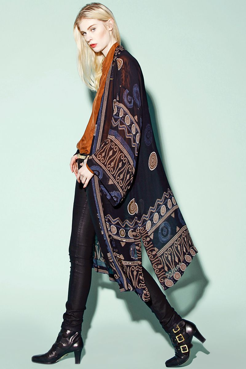 Vintage 90s Sheer Tribal Print Kimono Jacket http://thriftedandmodern.com/vintage-90s-sheer-tribal-jacket