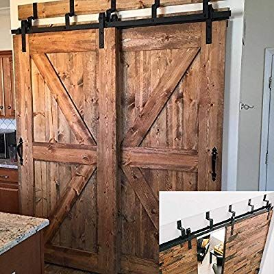 Hahaemall Vintage Modern Interior 5 16ft J Shape Bypass Barn Door