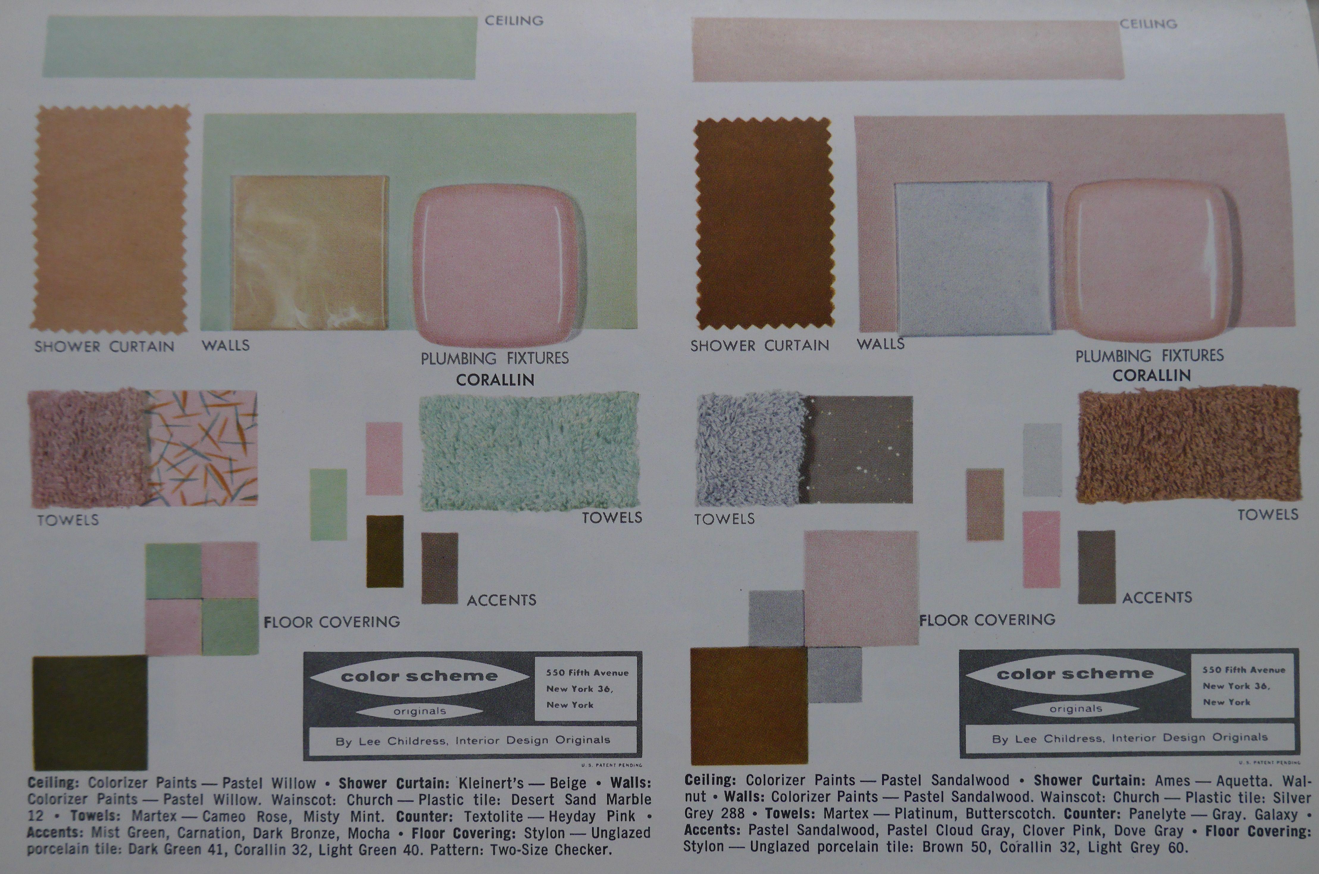 1957 Color Chart Corallin Dream Bathroom Floor Coverings Mid