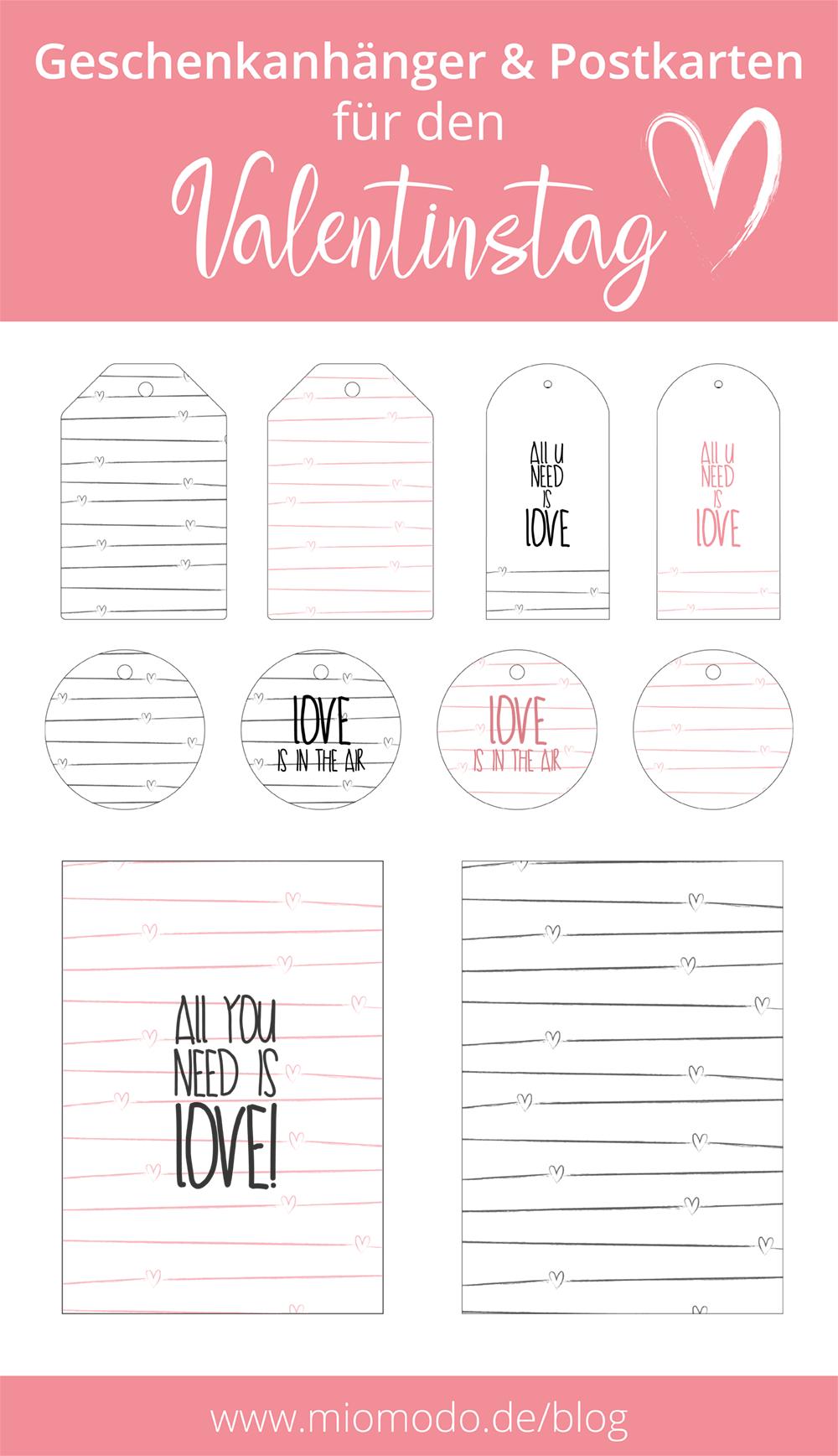 Valentinstag Freebies zum Ausdrucken | Printable valentine, free ...