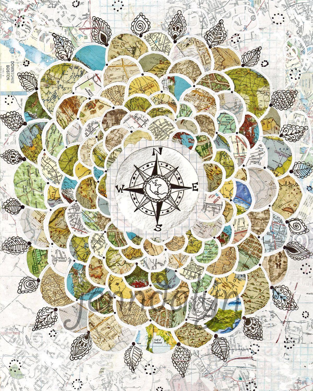 Map Print Wanderlust Poster Compass Rose Art Flower By