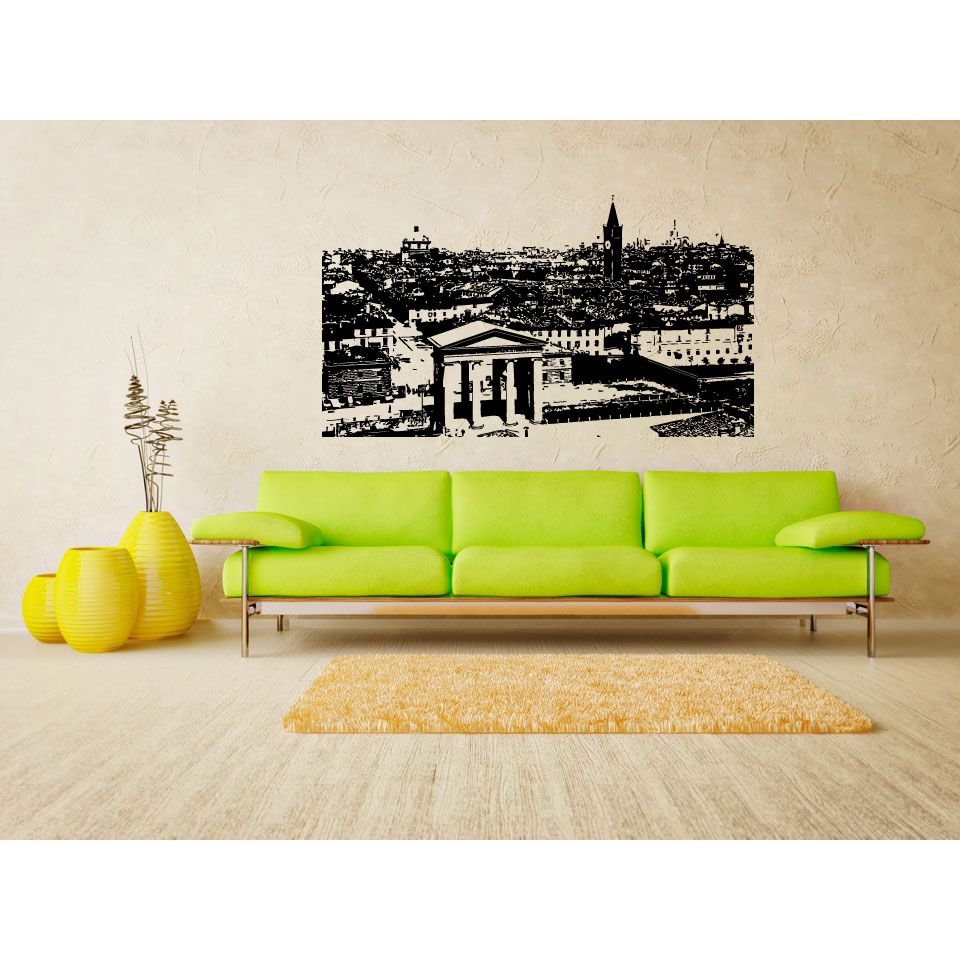 Milan City Panorama of the Old Town Wall Art Sticker Decal ...