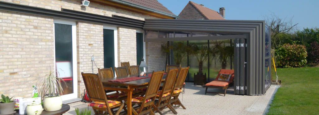 Veranda Retractable Terrasse Bronze Pans Droits Belles Idees