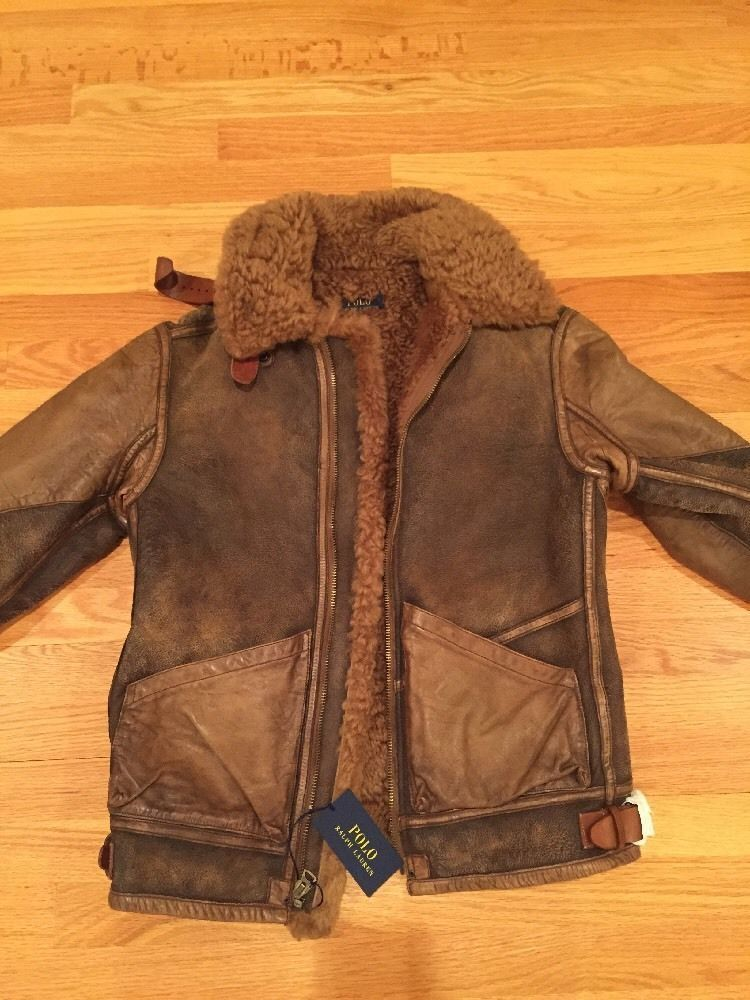 a7c3dce9cd3435 Polo Ralph Lauren Vintage 100% Shearling Bomber Leather Jacket ...