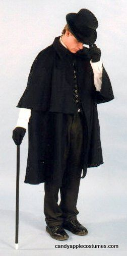 Deluxe Adult Black Victorian Cloak - Candy Apple Costumes