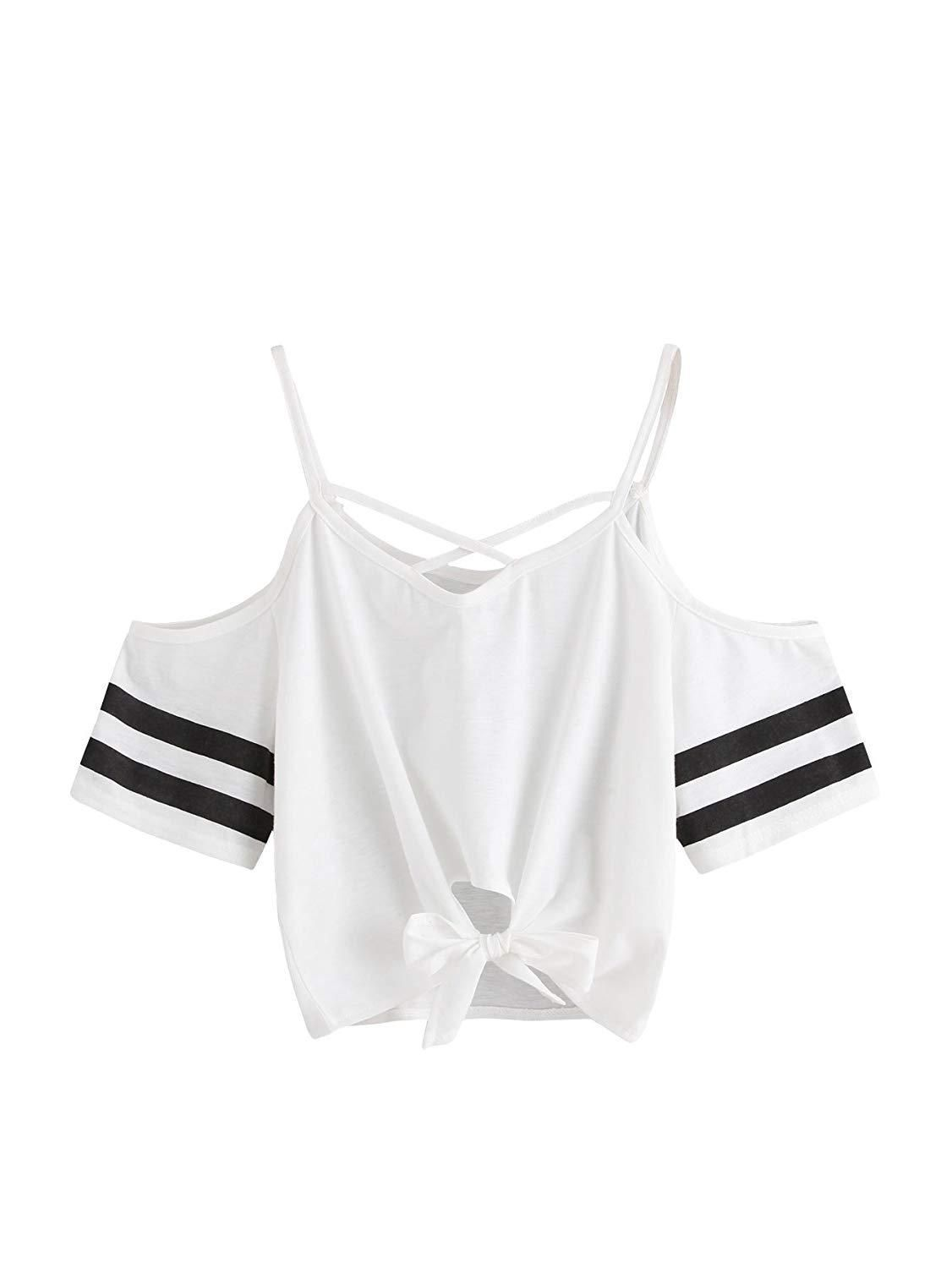 42591f0be09 SweatyRocks Womens Knotted Cold Shoulder T Shirt Criss Cross Crop ...