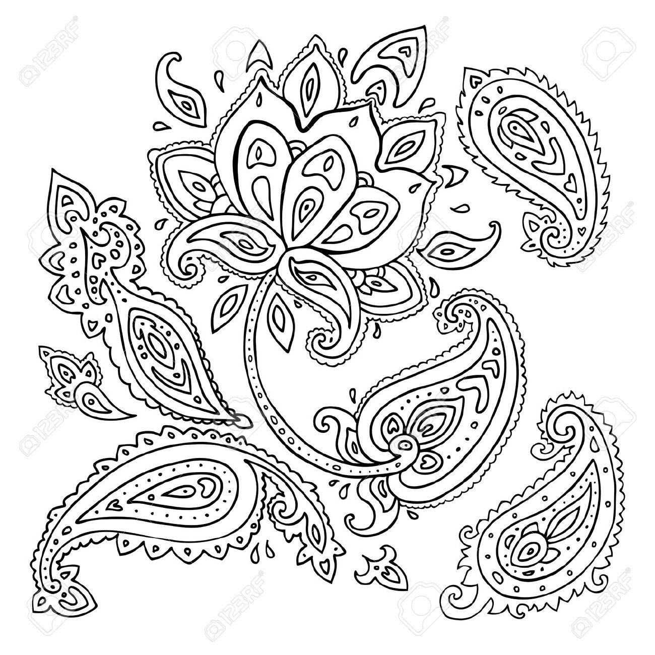 18564648 Paisley Ornament Lotus Flower Vector Illustration Isolated