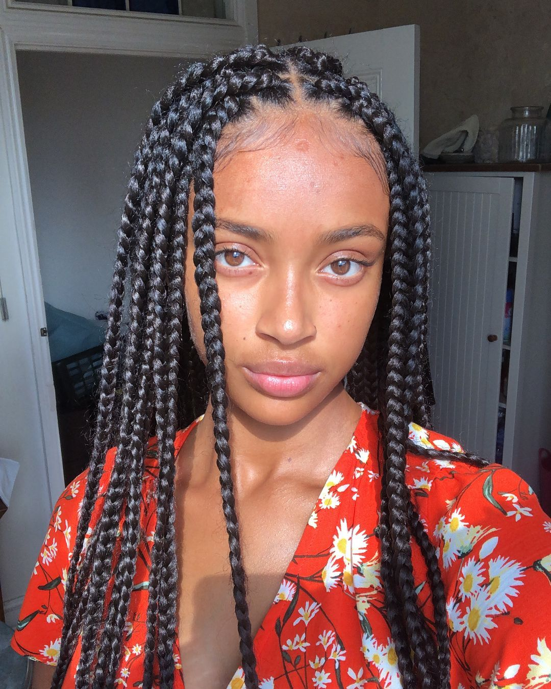 A Imagem Pode Conter 1 Pessoa Close Up Boxbraidswithcolor Black Girl Braided Hairstyles Box Braids Hairstyles Hair Styles