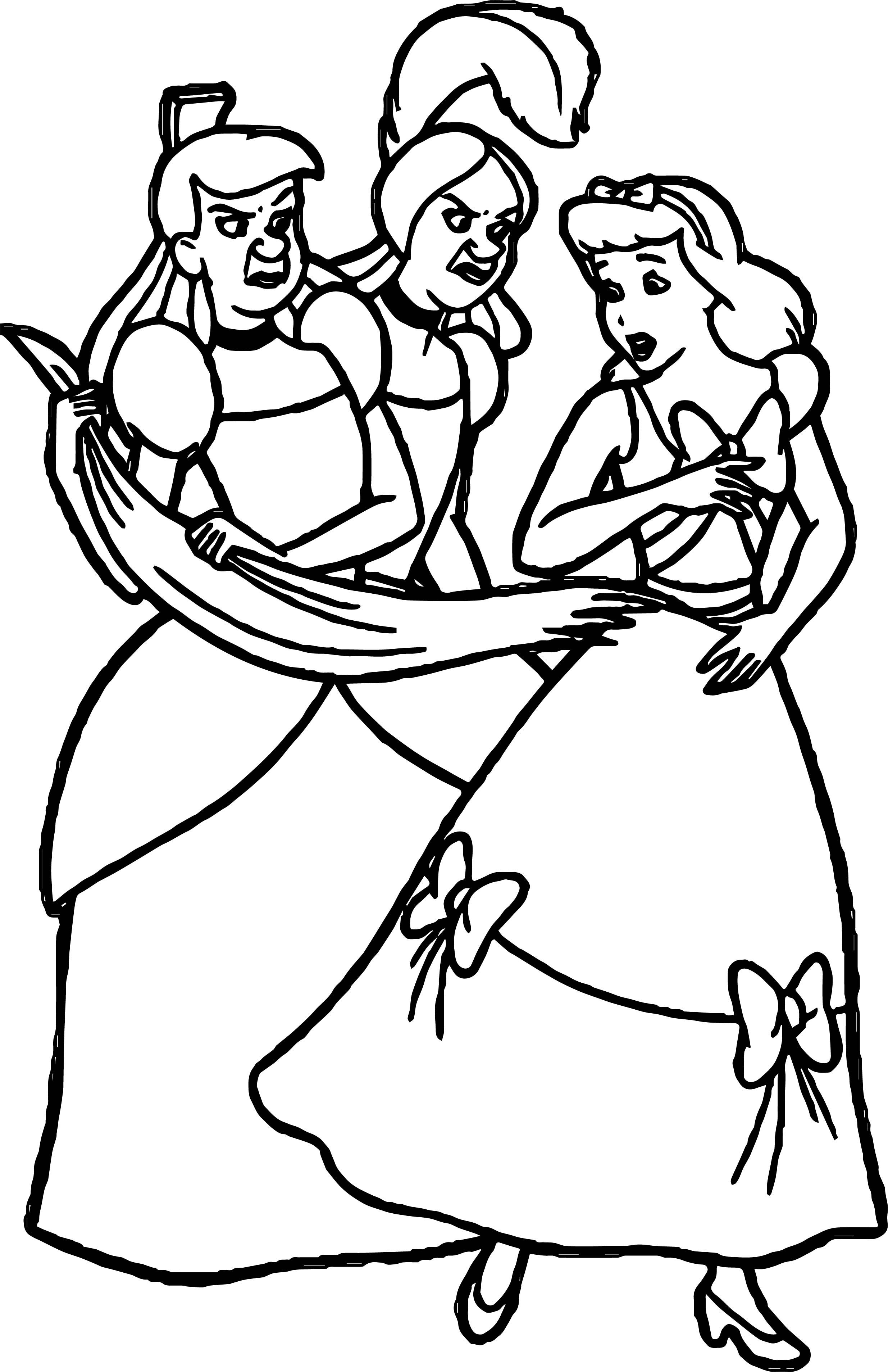 Awesome Disney Lady Tremaine Anastasia Drizella And Lucifer Coloring Page Coloring Pages Anastasia And Drizella Disney Ladies [ 3813 x 2469 Pixel ]