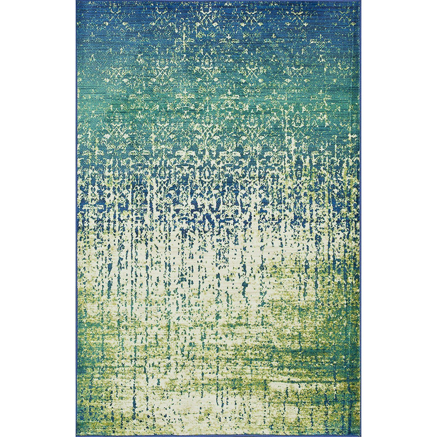 "3'9""x5'2"" Aqua Blue Sage Green Cascade Watercolor Painting Splash Printed Area Rug Indoor Graphical Pattern Living Room Rectangle Carpet Graphic Art"