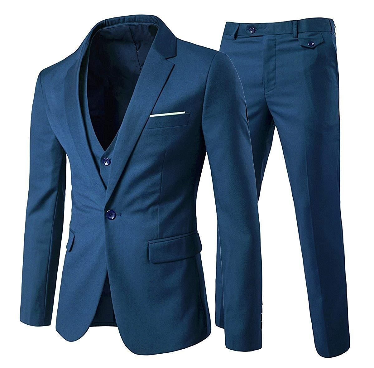 Fashion Mens Slim Fit One Button Wedding Blazers Suits Dress Coats Pants Vests