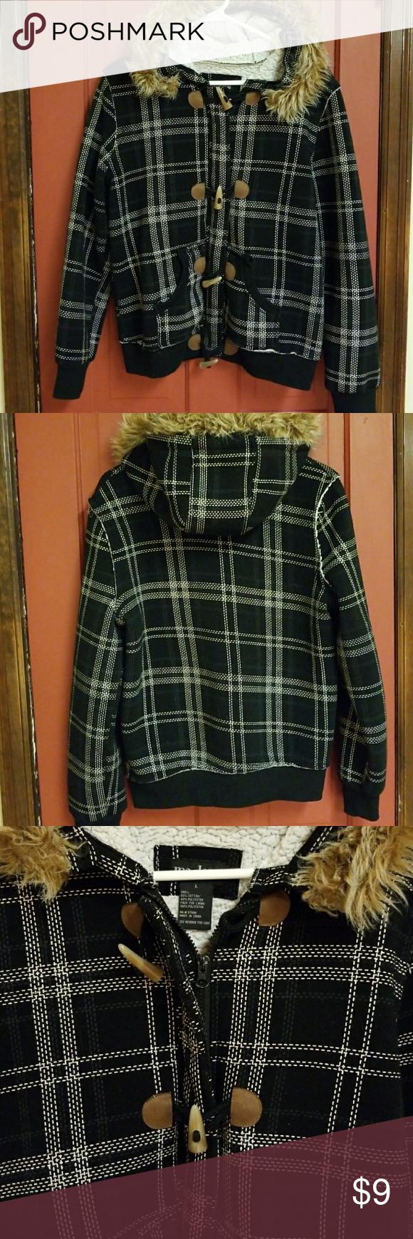Flannel shirt apron  Me Jane flannelfur lining bomber jacket SzMed  Flannels Fur and Hoods