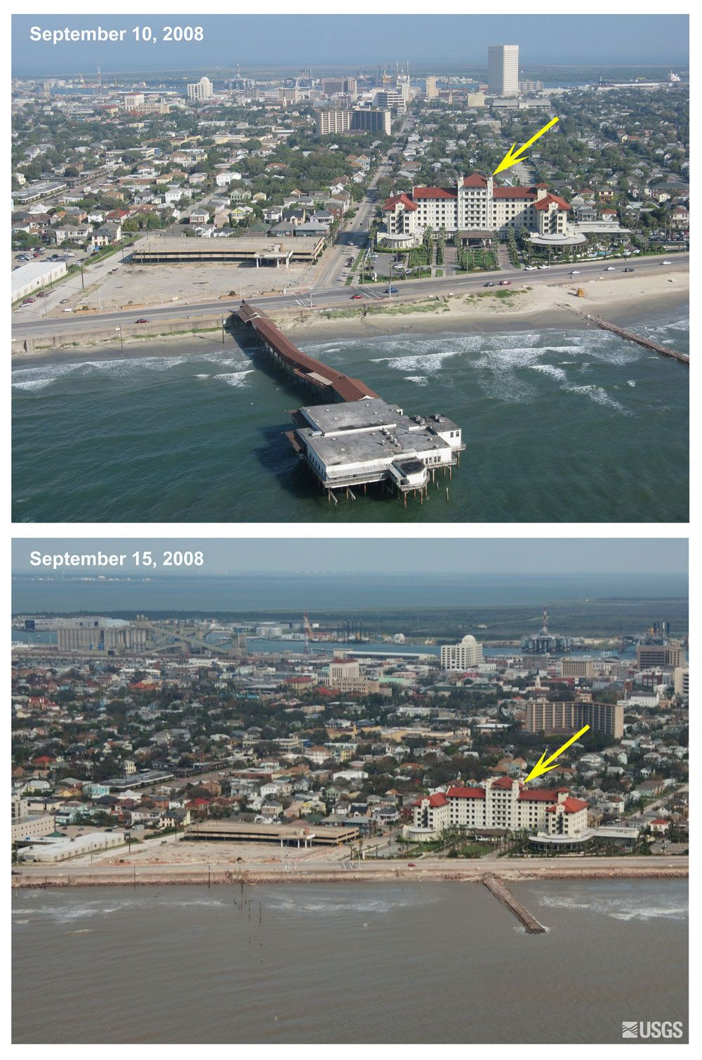 Pre And Post Storm Photo Comparisons Galveston Tx Hurricane Ike Coastal Change Hazards Hurricanes And Ext Galveston Hurricane Galveston Texas Galveston