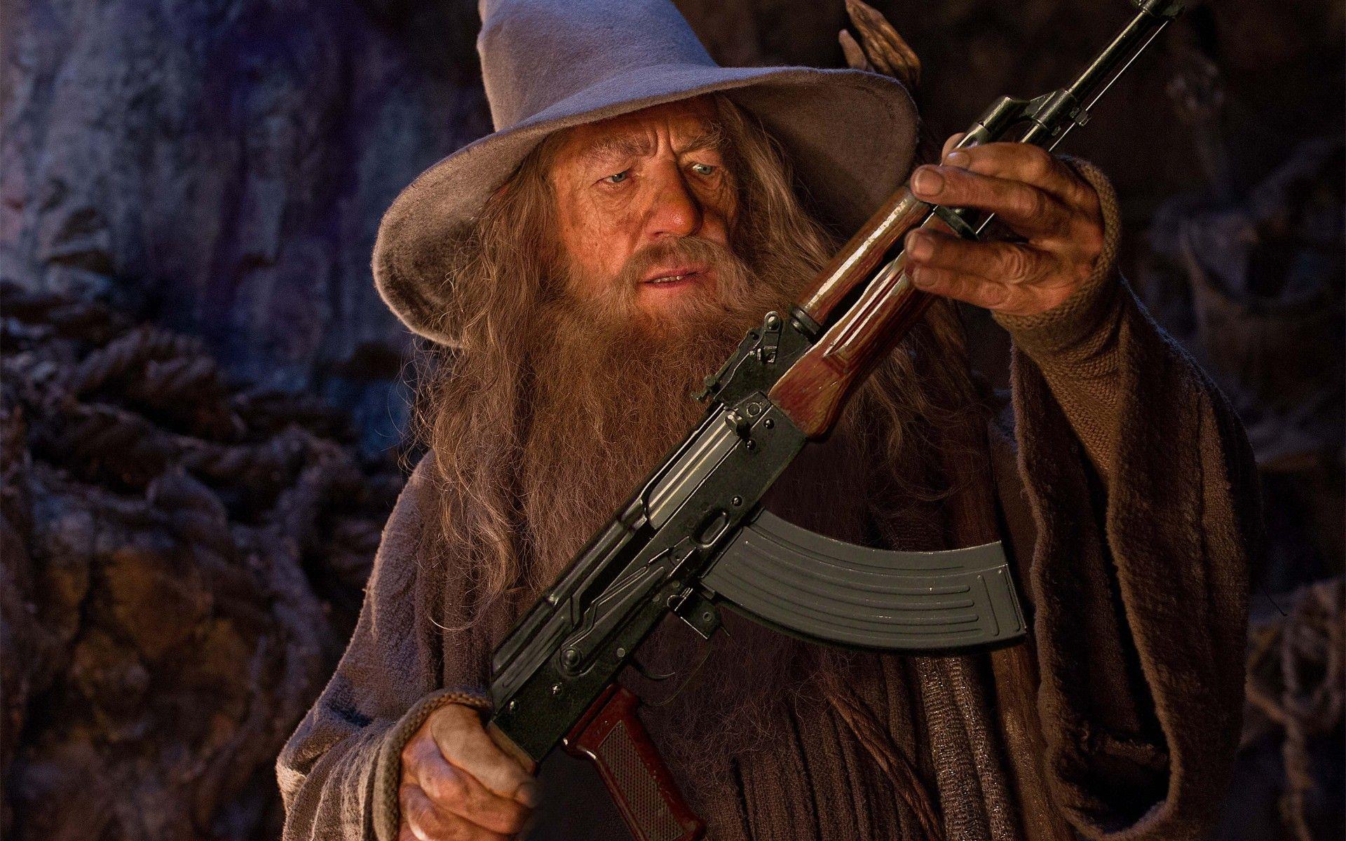 Gandlaf so zbraňou