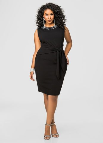 Studded Knot Front Dress Cute And Classy Dresses Style