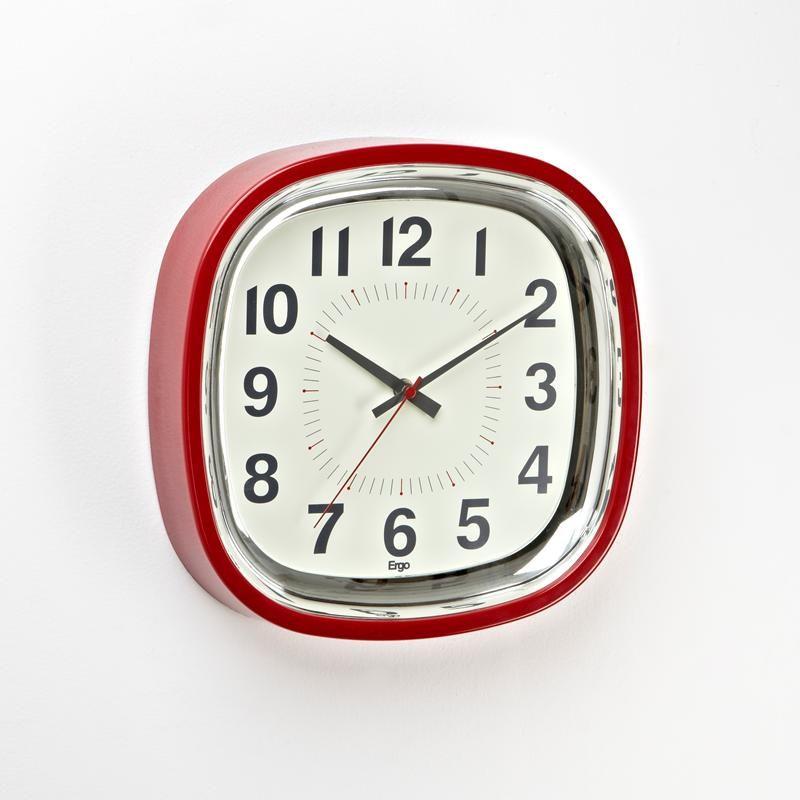 Ergo Betty Wall Clock Retro Square 12 5 Sq Red Kitchen Stuff