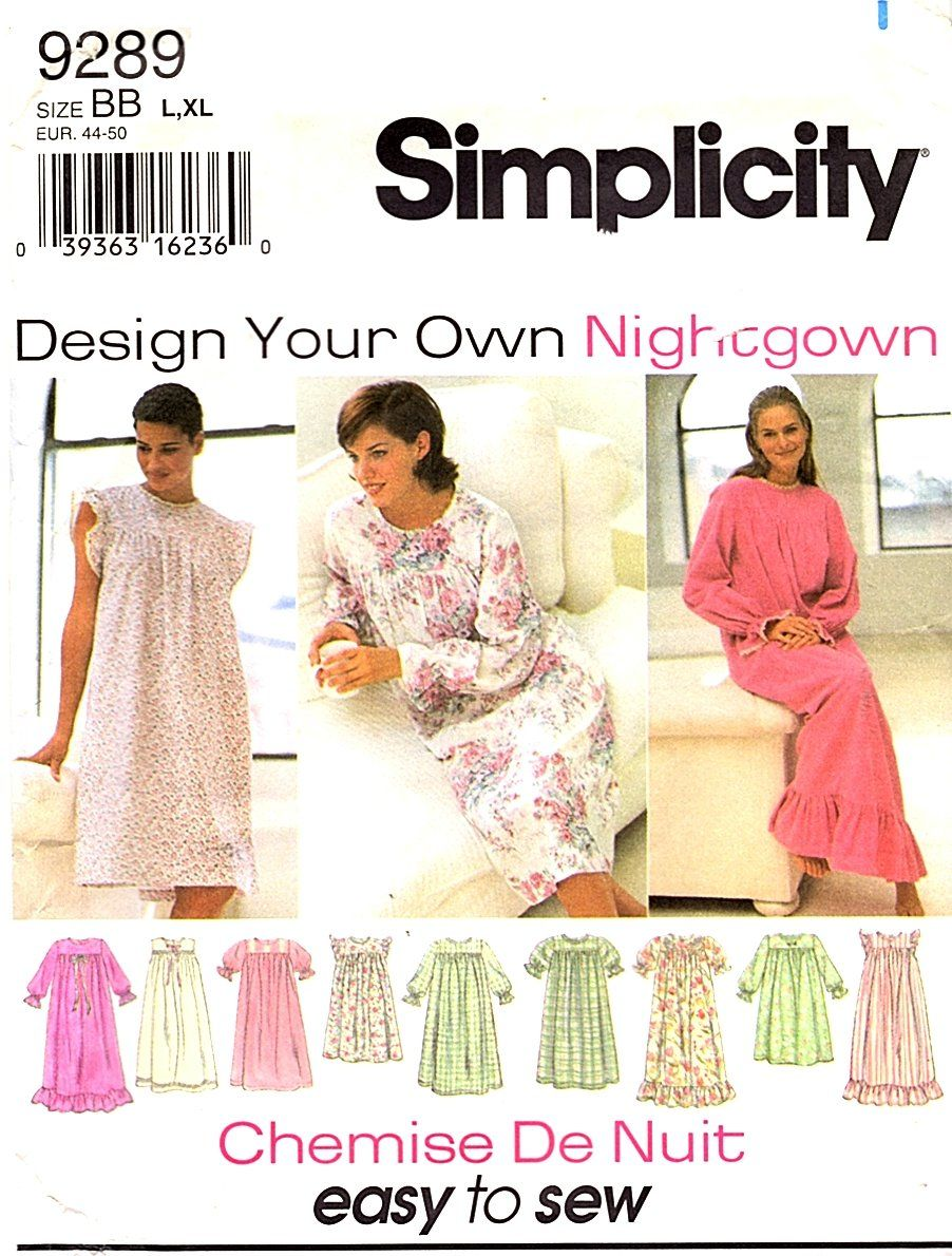 Simplicity Sewing Pattern 9289 0630 Misses Sizes 18-24 Design Your Own Nightgown  Simplicity+Sewing+Pattern+9289+0630+Misses+Sizes+18-24+Design+Your+Own+ ... 8c7a99b31