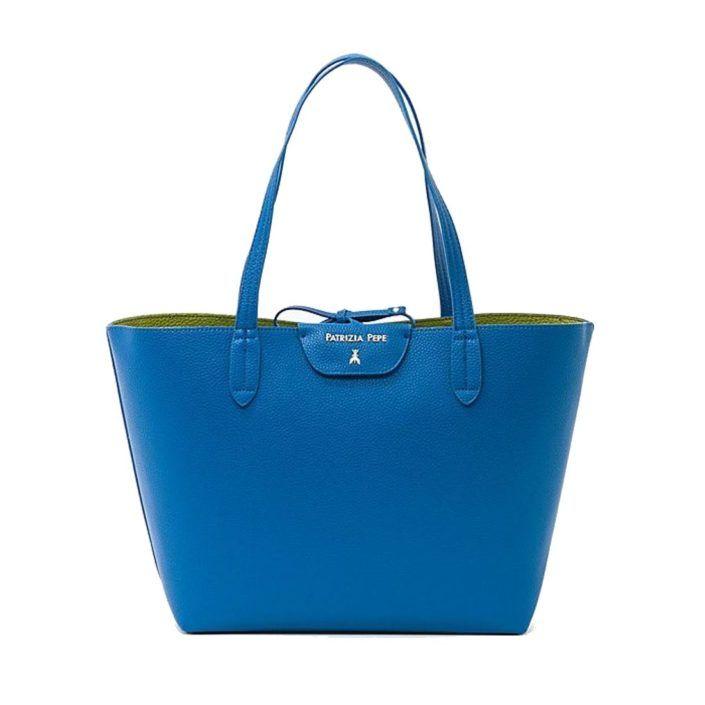 Anteprima collezione PE2017 PATRIZIA PEPE Borsa Shopping Reversibile 2V5452 Brillant Blue/Green