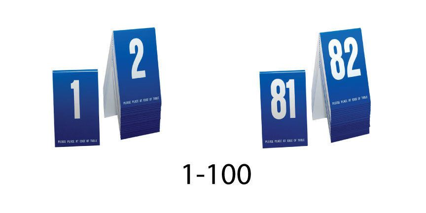 Plastic Table Numbers Blue W White Number Tent Style - Table tent numbers plastic