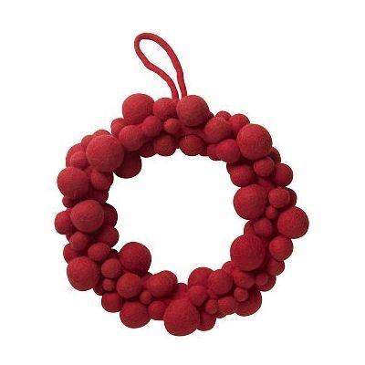 West Elm Felt Ball Wreath 12, Red by West Elm $39