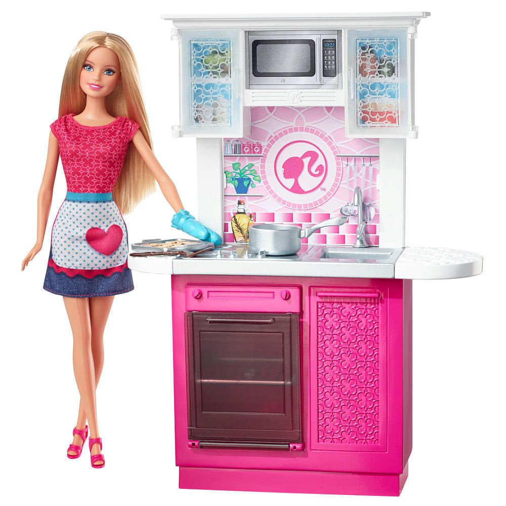 Barbie deluxe furniture stovetop to tabletop kitchen doll target - New Barbie Doll And Kitchen Furniture Set Model 19291242