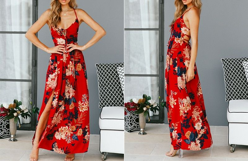 8e774cf731fd -1 2019 Lily Rosie Girl Red Floral Print Sexy Lace Up V Neck Women Maxi
