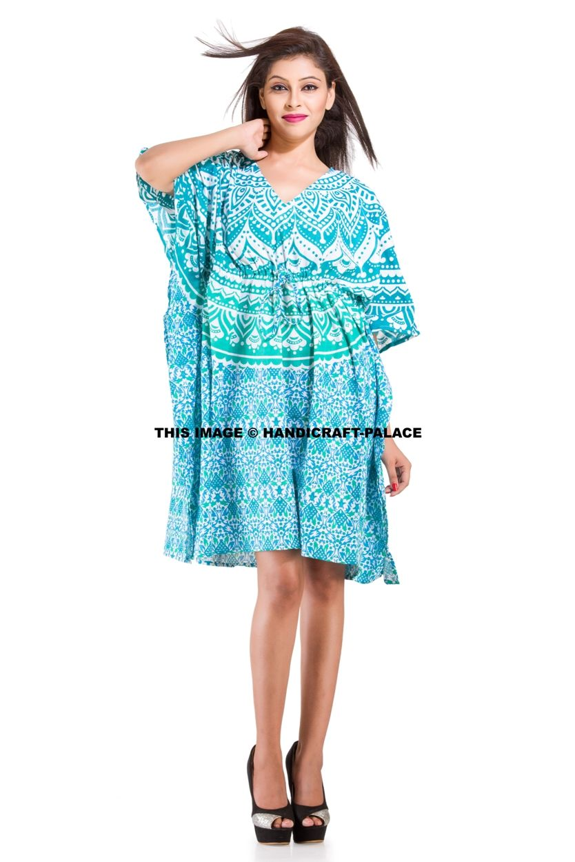 c7e6a7132e Mandala 100% Cotton Casual Maxi Dress Beach Wear Boho Indian Short Kaftan  Maxi. These Beautiful Caftan or can be called as Tunic is made with super  ...