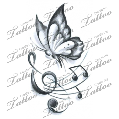 422fbd1a7 Marketplace Tattoo Butterfly Music #19176 | CreateMyTattoo.com | So ...